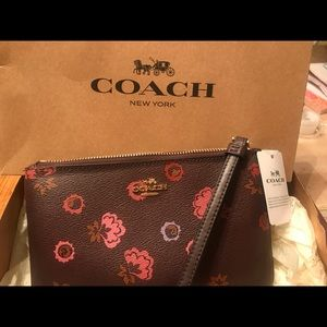Coach wristlet multi floral zip up NWT and box